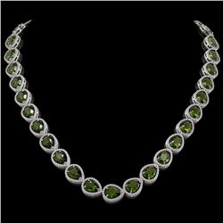 41.6 CTW Tourmaline & Diamond Halo Necklace 10K White Gold - REF-768Y4K - 41207