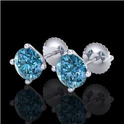 2 CTW Fancy Intense Blue Diamond Solitaire Art Deco Earrings 18K White Gold - REF-272F8N - 38244