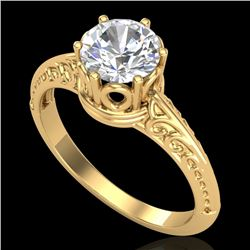 1 CTW VS/SI Diamond Art Deco Ring 18K Yellow Gold - REF-361A8X - 37252