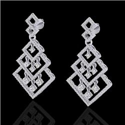 3 CTW Micro Pave VS/SI Diamond Earrings Dangling Designer 14K White Gold - REF-267Y6K - 22488