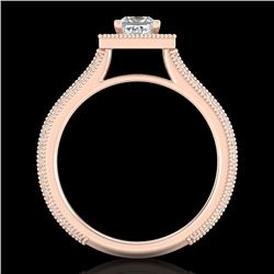 1.41 CTW Princess VS/SI Diamond Solitaire Micro Pave Ring 18K Rose Gold - REF-200W2F - 37179