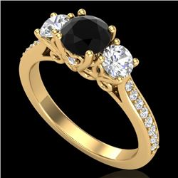 1.67 CTW Fancy Black Diamond Solitaire Art Deco 3 Stone Ring 18K Yellow Gold - REF-156W4F - 37809