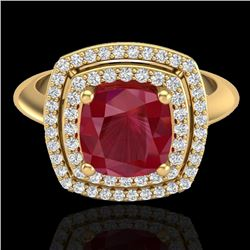 2.52 CTW Ruby & Micro VS/SI Diamond Pave Halo Ring 18K Yellow Gold - REF-77T3M - 20767