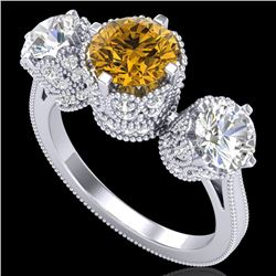 3.06 CTW Intense Fancy Yellow Diamond Art Deco 3 Stone Ring 18K White Gold - REF-390A9X - 37392