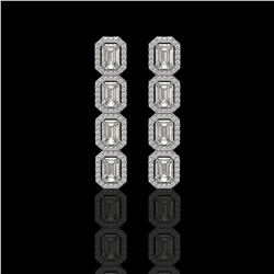 5.33 CTW Emerald Cut Diamond Designer Earrings 18K White Gold - REF-1125N6Y - 42665