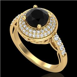 1.7 CTW Fancy Black Diamond Solitaire Engagement Art Deco Ring 18K Yellow Gold - REF-143X6T - 38124