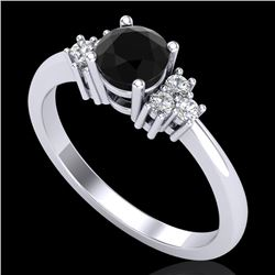 0.75 CTW Fancy Black Diamond Solitaire Engagement Classic Ring 18K White Gold - REF-70W9F - 37583