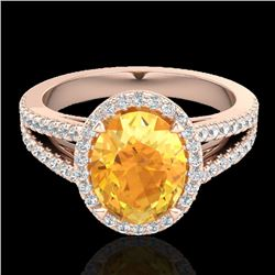 3 CTW Citrine & Micro VS/SI Diamond Halo Solitaire Ring 14K Rose Gold - REF-57M6H - 20935