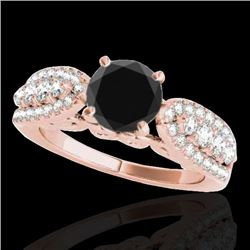 2 CTW Certified VS Black Diamond Solitaire Ring 10K Rose Gold - REF-95H6A - 35272