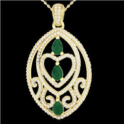 3.50 CTW Emerald & Micro Pave VS/SI Diamond Heart Necklace 18K Yellow Gold - REF-218M2H - 21288