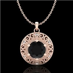 1.11 CTW Fancy Black Diamond Solitaire Art Deco Stud Necklace 18K Rose Gold - REF-87K3W - 37563