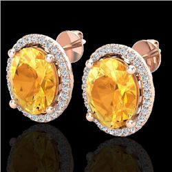 5 CTW Citrine & Micro Pave VS/SI Diamond Earrings Halo 14K Rose Gold - REF-67N3Y - 21050