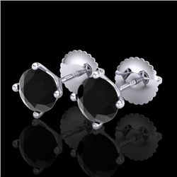 1.5 CTW Fancy Black Diamond Solitaire Art Deco Stud Earrings 18K White Gold - REF-45H3A - 38234