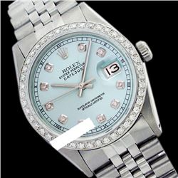 Rolex Men's Stainless Steel, QuickSet, Diamond Dial & Diamond Bezel - REF-521Y7X