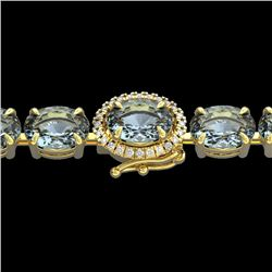 15.25 CTW Aquamarine & VS/SI Diamond Eternity Tennis Micro Halo Bracelet 14K Yellow Gold - REF-176H4