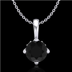 0.82 CTW Fancy Black Diamond Solitaire Art Deco Stud Necklace 18K White Gold - REF-63A6X - 37800