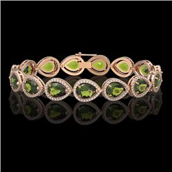 19.7 CTW Tourmaline & Diamond Halo Bracelet 10K Rose Gold - REF-361N3Y - 41256