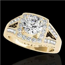 1.65 CTW H-SI/I Certified Diamond Solitaire Halo Ring 10K Yellow Gold - REF-233W4F - 34461