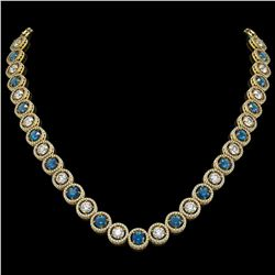31.18 CTW Blue & White Diamond Designer Necklace 18K Yellow Gold - REF-3872N5Y - 42589