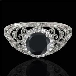 1.22 CTW Certified VS Black Diamond Solitaire Halo Ring 10K White Gold - REF-66H5A - 33781