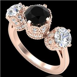 3.06 CTW Fancy Black Diamond Solitaire Art Deco 3 Stone Ring 18K Rose Gold - REF-294H9A - 37388