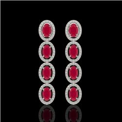 6.47 CTW Ruby & Diamond Halo Earrings 10K White Gold - REF-114N2Y - 40505