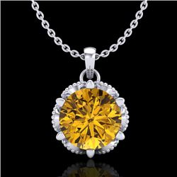 1.36 CTW Intense Fancy Yellow Diamond Art Deco Stud Necklace 18K White Gold - REF-180Y2K - 38106