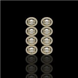 5.33 CTW Oval Diamond Designer Earrings 18K Yellow Gold - REF-982W4F - 42766