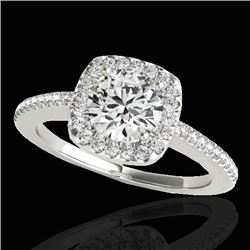 1.25 CTW H-SI/I Certified Diamond Solitaire Halo Ring 10K White Gold - REF-161A8X - 33823