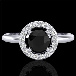 0.75 CTW Micro Pave Halo Solitaire VS/SI Diamond Ring 18K White Gold - REF-54Y2K - 23285