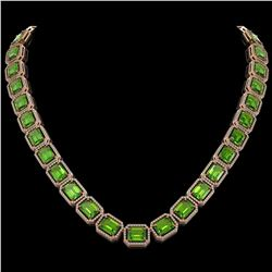 73.41 CTW Peridot & Diamond Halo Necklace 10K Rose Gold - REF-888W2F - 41502