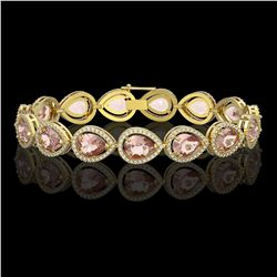 19.55 CTW Morganite & Diamond Halo Bracelet 10K Yellow Gold - REF-480M4H - 41248