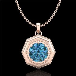 0.75 CTW Fancy Intense Blue Diamond Solitaire Art Deco Necklace 18K Rose Gold - REF-100A2X - 37944