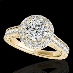 1.7 CTW H-SI/I Certified Diamond Solitaire Halo Ring 10K Yellow Gold - REF-178H2A - 33726