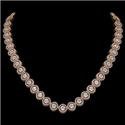 29.37 CTW Cushion Cut Diamond Designer Necklace 18K Rose Gold - REF-5275F5N - 42804