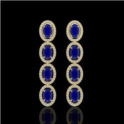 6.47 CTW Sapphire & Diamond Halo Earrings 10K Yellow Gold - REF-109A5X - 40510