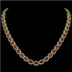 32.82 CTW Garnet & Diamond Halo Necklace 10K Yellow Gold - REF-501X3T - 40447