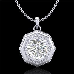 0.75 CTW VS/SI Diamond Solitaire Art Deco Stud Necklace 18K White Gold - REF-180W2F - 37097