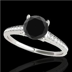 1.5 CTW Certified VS Black Diamond Solitaire Ring 10K White Gold - REF-67F8N - 34847