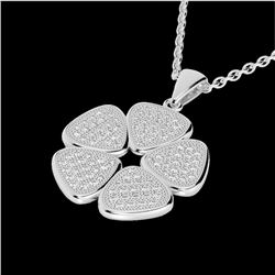0.80 CTW Micro Pave VS/SI Diamond Designer Necklace 14K White Gold - REF-69T6M - 22601
