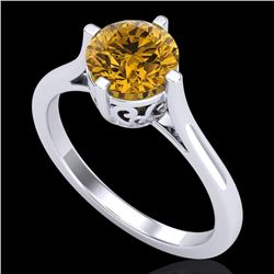 1.25 CTW Intense Fancy Yellow Diamond Engagement Art Deco Ring 18K White Gold - REF-218Y2K - 38064