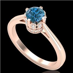 0.81 CTW Fancy Intense Blue Diamond Solitaire Art Deco Ring 18K Rose Gold - REF-103Y6K - 37335