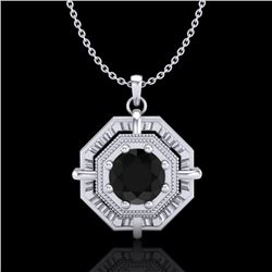 0.75 CTW Fancy Black Diamond Solitaire Art Deco Stud Necklace 18K White Gold - REF-80H2A - 37457