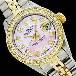 Rolex Men's Two Tone 14K Gold/SS, QuickSet, Diamond Dial, Diam/Ruby Bezel - REF-539H2W
