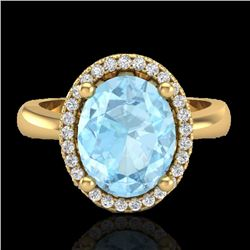 2.50 CTW Aquamarine & Micro Pave VS/SI Diamond Ring Halo 18K Yellow Gold - REF-60H4A - 21096