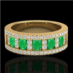 2.34 CTW Emerald & Micro Pave VS/SI Diamond Designer Ring 10K Yellow Gold - REF-67A3X - 20825