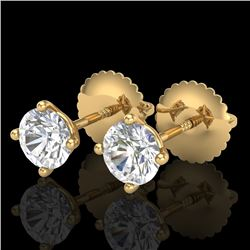 0.65 CTW VS/SI Diamond Solitaire Art Deco Stud Earrings 18K Yellow Gold - REF-97X3T - 37297