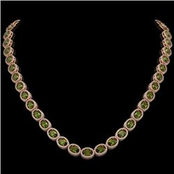 31.1 CTW Tourmaline & Diamond Halo Necklace 10K Rose Gold - REF-600W2F - 40422