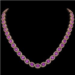 29.38 CTW Amethyst & Diamond Halo Necklace 10K Rose Gold - REF-503Y5K - 40440