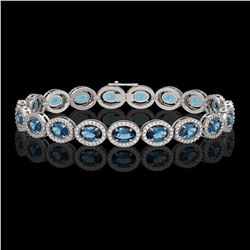 14.82 CTW London Topaz & Diamond Halo Bracelet 10K White Gold - REF-232M5H - 40487